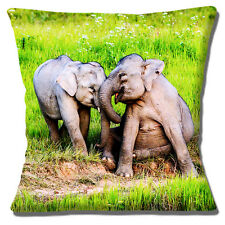 """NEW Novelty Two Baby Elephants Playing Laughing Cuddle 16"""" Pillow Cushion Cover"""