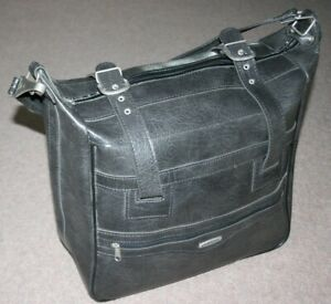 1980s Vintage CUSTOM Retro Travel Bag/Holdall Grey Faux Leather Luggage Shoulder