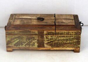 Antique Wooden Desk Makeup Cosmetic Organizer Drawers  Makeup Box 11247