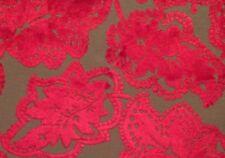 DESIGNERS GUILD Valencian red floral raised velvet viscose cotton remnant new