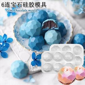6-Cavity Gemstone Silicone Cake Mold Chocolate Baking Tray Mousse Soap Mould
