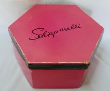 "Vintage 1950's Schiaparelli Hot Pink Octagon Hat Box 12"" x 14"" Rare!"