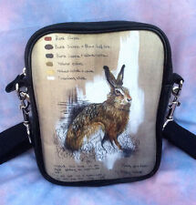 NEW HARE / RABBIT - WILDLIFE ART - WEARABLE ART LEATHER MESSENGER BAG / HANDBAG