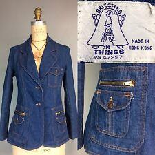 Vtg 70s Denim Fitted Blazer Stash Pocket Zippers Nip Waist Britches N Things