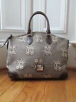 Dooney & Bourke Signature Crest Print Jacquard Satchel  (Brown)