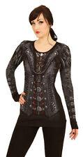 Gothic Langarm Damenblusen, - tops & -shirts mit Rundhals-Ausschnitt