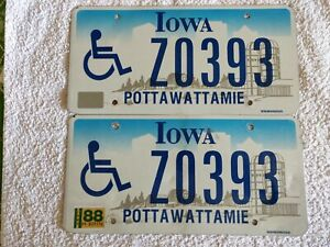 Iowa Pair of 1988 ♿ Z0393 Genuine Pre-Owned USA American License Plates