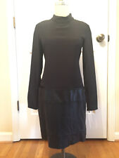New Theory Long Sleeved Black Karlyn Dress Silk top Leather skirt size 4