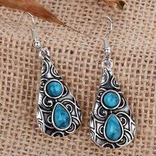 Tibetan Silver Turquoise bead Calabash Water drop Hook Earrings WOMEN Jewelry