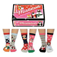 United Oddsocks Mistletoes Sechs Weihnachten Unregelmäßige Socken für Damen UK 4