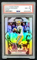 2017 Prizm SILVER REFRACTOR Packers AARON RODGERS Card PSA 8 NM-MT Pop 26