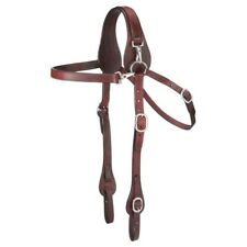 Tough-1 Leather Mule Headstall with Snap at Crown Adjustable Dark Oil