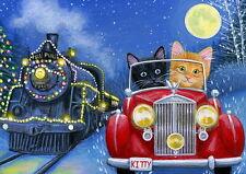 Kittens cat car racing the train Christmas lights moon fantasy OE aceo print art