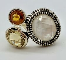 Michael Dawkins Ring Multi Gemstone  Sz. 7 Citrine Mother Of Pearl EUC