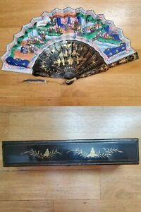 👍19TH CENTURY CHINA CHINESE CANTON HUNDRED FACES LACQUER PAPER FAN WITH BOX 古董扇