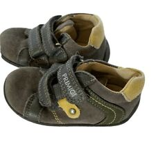 Primigi Boys Gray, Green, Yellow, Leather Fall, Winter Shoes Size 5.5c / 21