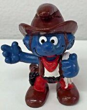 Vintage 1981 Schleich Peyo Smurfs PVC Figure Cowboy Smurf