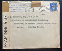 1943 London England Institute Of Chemistry Censored Cover to London Canada