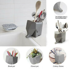 Kitchen Cutlery Drainer Tableware Holder Jumbo Elephant  Pen Organizer Plant Pot