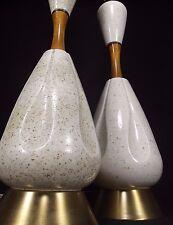 2 MID CENTURY MODERN genie speckle TABLE LAMPS EAMES teak ceramic danish ATOMIC