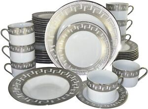 (D) Royalty Porcelain 40-pc Banquet Dinnerware Set Bone China Greek Key Silver