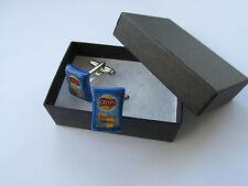 Handmade Novelty Fun Gift Idea Cheese & Onion Crisps Crisp Charm Cufflinks