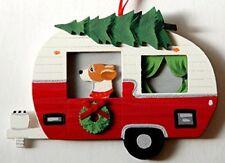 Beagle  Dog Vintage Camper  Wood Hand-painted 3-D Christmas Ornament - USA Made.