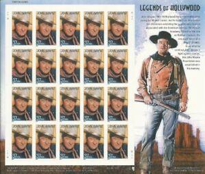John Wayne Legends of Hollywood Sheet of Twenty 34 Cent Stamps Scott 3876