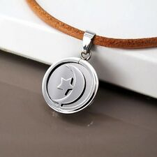 Silver Round Stainless Steel Moon Star Pendant Womens 3mm Brown Leather Necklace