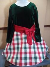 Ashley Ann Girls Dress Dark Green Velvet Feel Poly Top Red & Green Plaid 4T VGC