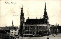 Aachen alte Postkarte 1918 Feldpost 1. Weltkrieg gelaufen Blick auf das Rathaus