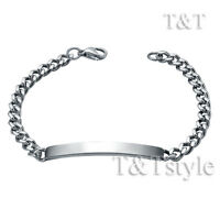 TT 5mm Stainless Steel Curb Chain ID Bracelet Engravable Mens & Womens BBR232S
