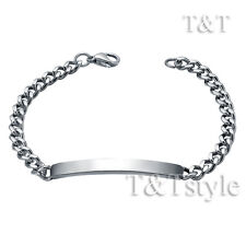 TT 5mm Stainless Steel Curb Chain ID Bracelet Engravable Mens & Womens BBR232S