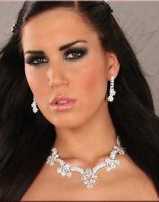 NEW! Bridal Crystal Rhinestone Flower NECKLACE & Twin Dangle EARRINGS SET 734