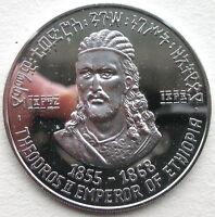Ethiopia 1964 Theodros II 5 Dollars Silver Coin,Proof