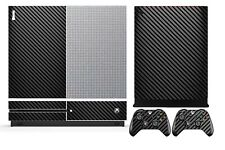 Black Carbon Fiber Cover Skin Sticker for Xbox One S (Slim) & 2 controller skins