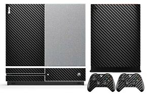 Black Carbon Fiber Cover Skin Sticker for Xbox One S (Slim) & 2 controller skins
