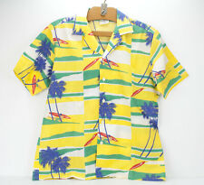 Vintage Oceanaire Hawaiian Camp Shirt USA Mens Medium 80s Luau Plane Palm Surfer