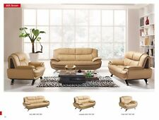 ESF 405 Brown Chic Top-Grain Leather Living Room Set, Total of 3 Pieces