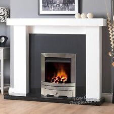 """GAS WHITE SURROUND BLACK GRANITE MARBLE SILVER FIRE FIREPLACE SUITE LARGE 54"""""""