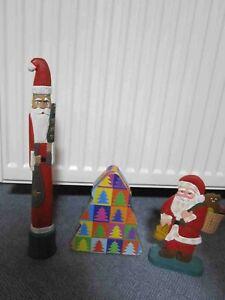 Weihnachtsmänner Holz, Blechdose Tannenbaum, Weihnachtsschmuck, Dekoration,