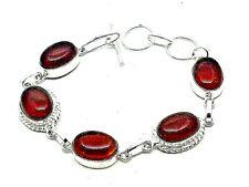 "Red Garnet Quartz Silver Overlay Handmade Gemstone Bracelet 7.8"" Adjustable"