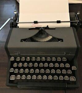 Vintage Royal Arrow Manual Portable Typewriter with Original Case and Key