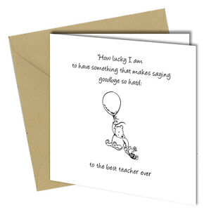 #1108 To The Best Teacher Ever Winnie The Pooh Greetings Card 150x150mm