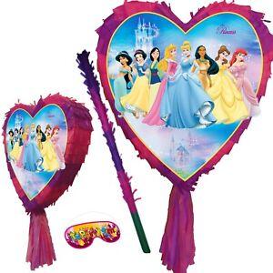 Princess Birthday Heart Pinata Party snow white Ariel Cinderella Aurora Belle