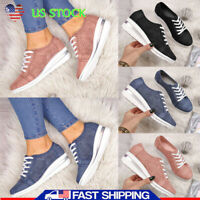 Women's Breathable Wedge Heel Sneakers Lace Up Low Top Casual Walking Shoes Size