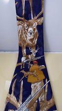 Vintage Renaissance Hand Made Mens Necktie Tie Deer Hunter Buck Gun Sport Korea