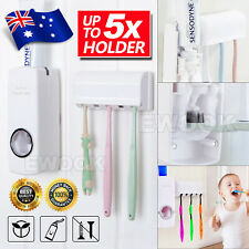 Automatic Toothpaste Dispenser +5 Toothbrush Holder Set Wall Mount Stand Sale AU