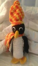 "PENGUIN Large 14"" Handmade Crochet Stuffed Animal w/ Multi-Colored Scarf & Hat"
