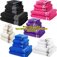 100% Egyptian Cotton 7 Piece Bale Towel set Face Towels Hand Towel Bath Towels